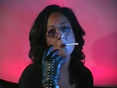 Leather Gloved Smoking MILF
