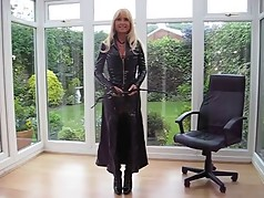 milf in PVC Coat & Leather Lace Up Basque
