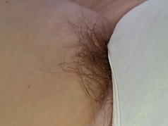 more long pubes hanging from white panties, sexy feet