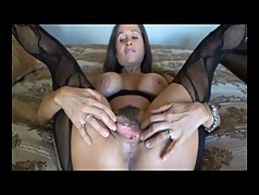 Brunette Milf Strips and Gets Fucked