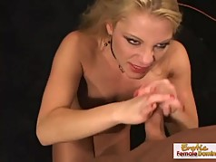 Natural blonde strips slowly and gets absolutely dominated b