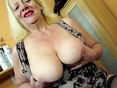 Dirty granny with big boobs and hungry old cunt