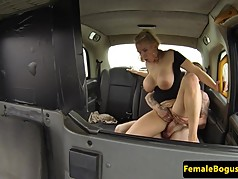 Cockhungry female cabbie bouncing on cock