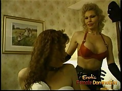 Tall blonde dominatrix has some kinky fun with two sexy harl