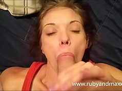 amateur babe Milf gags and deepthroats on husbands huge cock