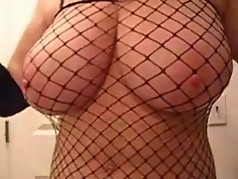 Erotic jack off with Lateshay in fishnets