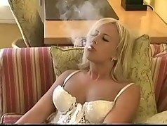 MILF Smoking in white Lingerie