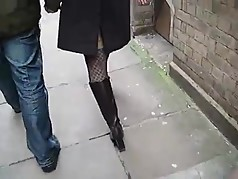 Candid Black Leather Boots Tights And Coat !