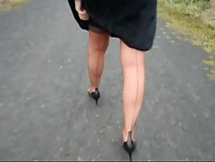 Teasing outdoors in my Copper nylons
