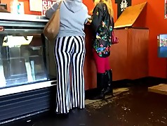 Stripe pants candid quickie