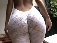 Milf in white wool leggings