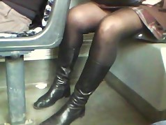 public milf black pantyhose and boots in tram