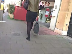 Nice heels and pantyhose walking in the street