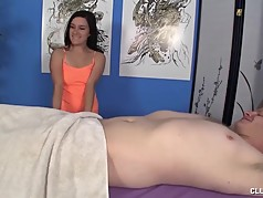 Handjob on the massage table