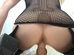 Very wet dildo ride from behind