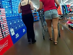 Shorts wedged in her chunky cheeks