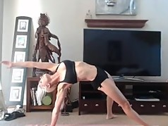 My secretary Andrea does Yoga and squirting