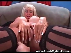 Check My MILF Trashu busty in black stockings with toy