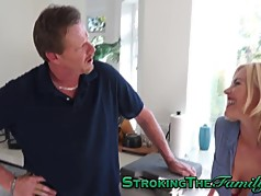 Teen slut rides stepdad