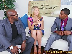 Busty MILF cumcovered after interracial trio