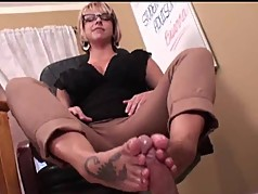 Cute Nerdy Girl in glasses Footjob 41
